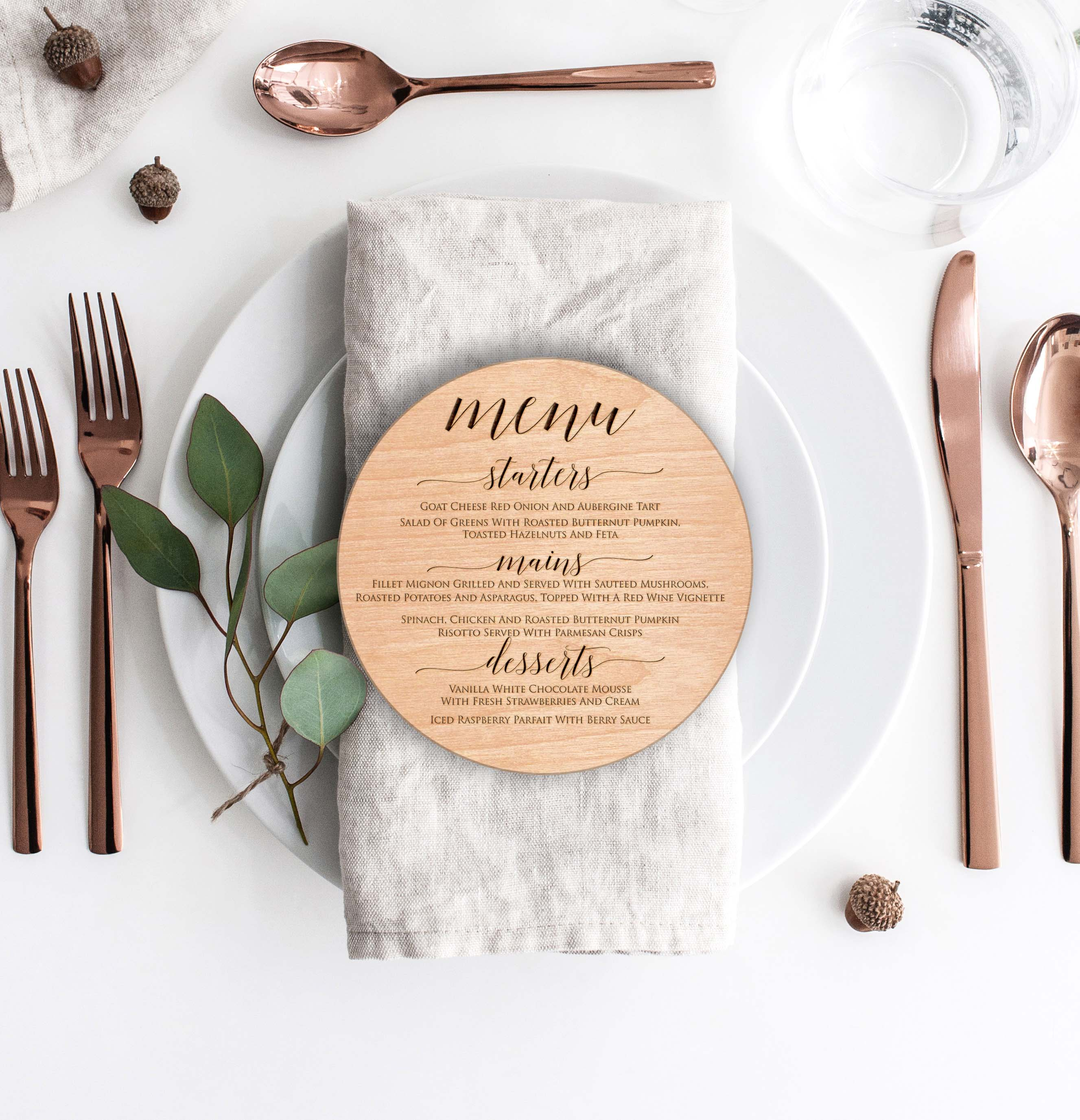 Wood Round Wedding Menu Card | Menu 6