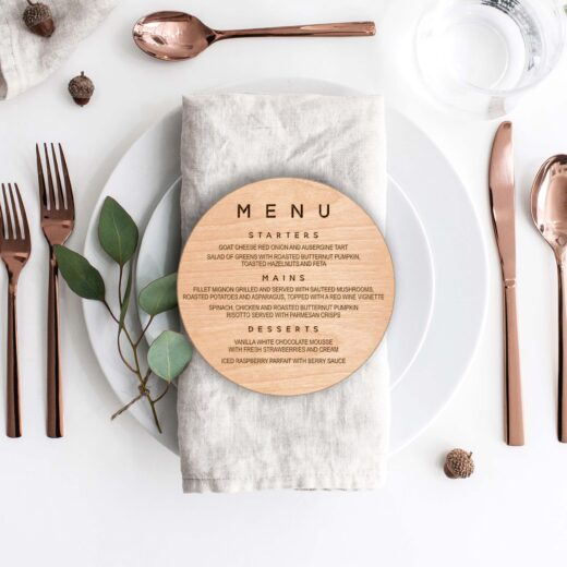 Wood Round Wedding Menu Card | Menu 8