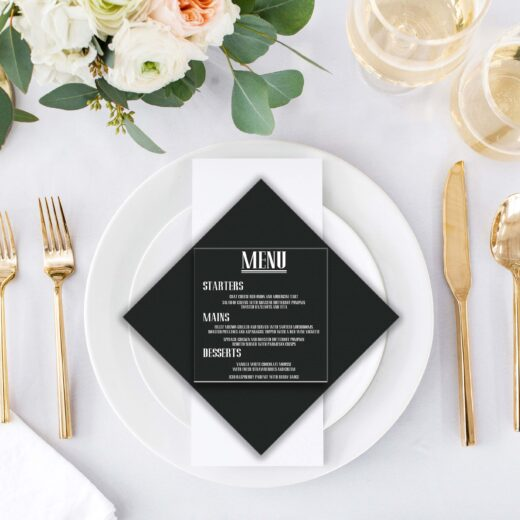 Square Acrylic Wedding Menu Card | Menu 3