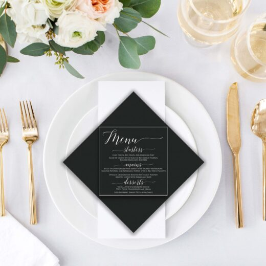 Square Acrylic Wedding Menu Card | Menu 6