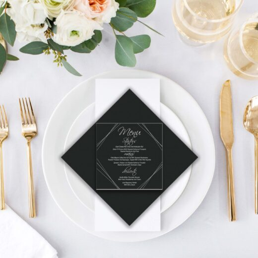 Square Acrylic Wedding Menu Card | Menu 7