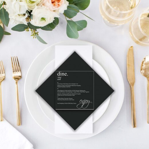 Square Acrylic Wedding Menu Card | Menu 9