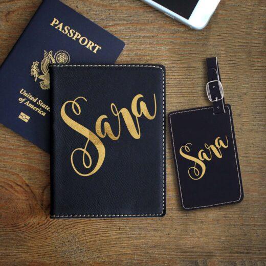 Leather Passport & Luggage Tag Set | Sara