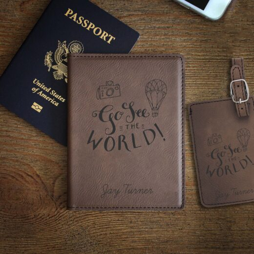 Leather Passport & Luggage Tag Set | Go See