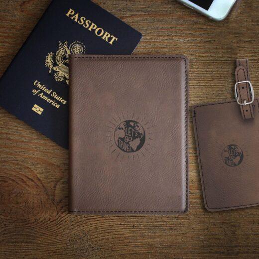 Leather Passport & Luggage Tag Set | World