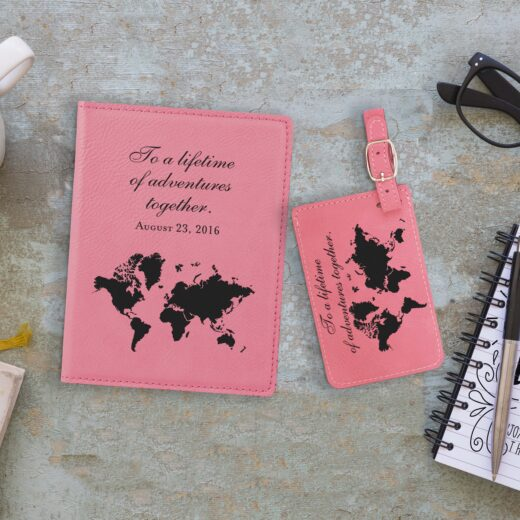 Leather Passport & Luggage Tag Set | World Map