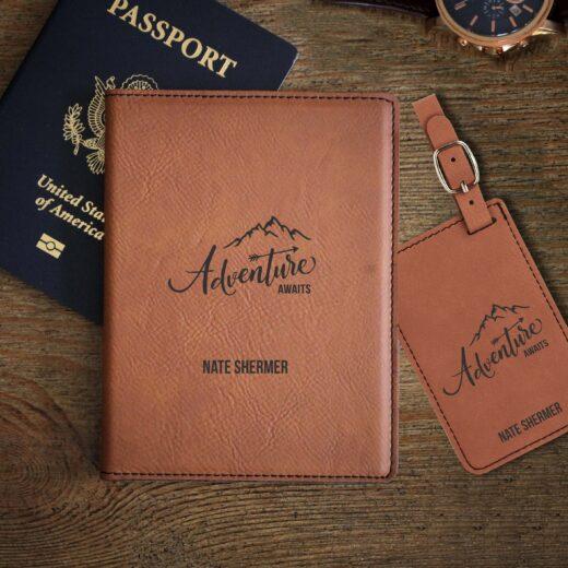 Leather Passport & Luggage Tag Set | Adventure